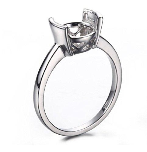 GOWE Bague de fiançailles en or blanc massif 10 carats de 8,5-9,5 mm de forme ronde solitaire de mariage