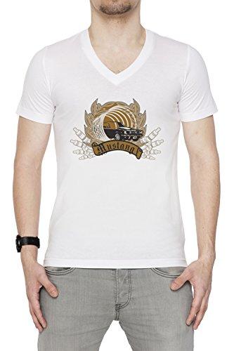 Mustang Uomo V-Collo T-shirt Bianco Cotone Maniche Corte White Men's V-neck T-shirt