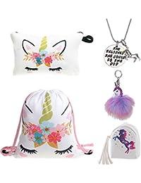 8fb82d8ad1 DRESHOW Unicorn Gifts for Girls 4 Pack - Zaino con un cordoncino e  unicorno/Borsa