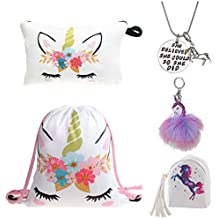 DRESHOW Unicorn Gifts for Girls 4 Pack - Zaino con un cordoncino e unicorno  Borsa 17fae173db8a