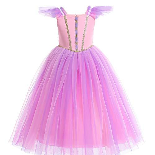 Prinzessin Aurora Kostüm - Rosa Prinzessin Aurora Rapunzel Halloween Kostüm Mädchen Kleid Zeremonie Phantasie Kostüm (140, Pink)