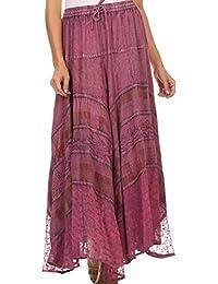 Sakkas Hailes Long Tall Wide Silver Embroidered Batik Adjustable Waist Skirt
