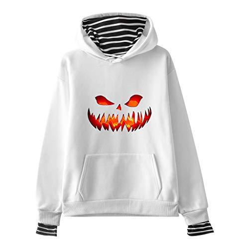 AQIN Halloween Unisex Sweatshirt Kapuzenpullover Kapuzensweater Hoodie Pullover Einfarbig mit Kängurutasche Kapuze Line Baumwolle Sweater -