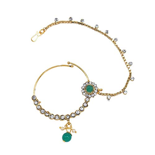 CATALYST Ethnic Indian Traditional Kundan Dulhan Bridal Jewellery Set for Women (CB1 CKR) (Green)