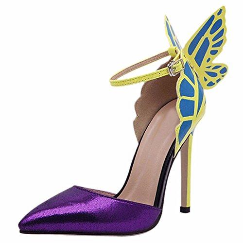 Minetom Mujer Elegante Estiletes Verano Sandalias Moda Tacón Alto Zapatos Con Mariposa Morado 36