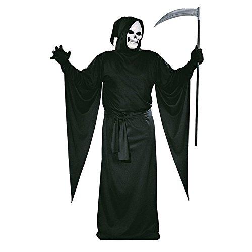 alloween-Kostüm mit Kapuze - Henker Kutte Tod Mönch - Schwarz - XL (Gr. 58/60) (Halloween-kostüme Für Mann Und Frau)