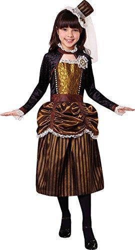 (Onlyglobal Kinder Mädchen Kostüm Party Buchwoche Tag Viktorianischer Steampink Mädchen Kostüm - Braun, Large 134cm - 146cm)