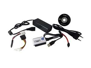"Power Star ADA-USB-IDE-SATA Adaptateur USB 2.0 avec alimentation vers HD 2,5""/3,5"" IDE et SATA Noir"
