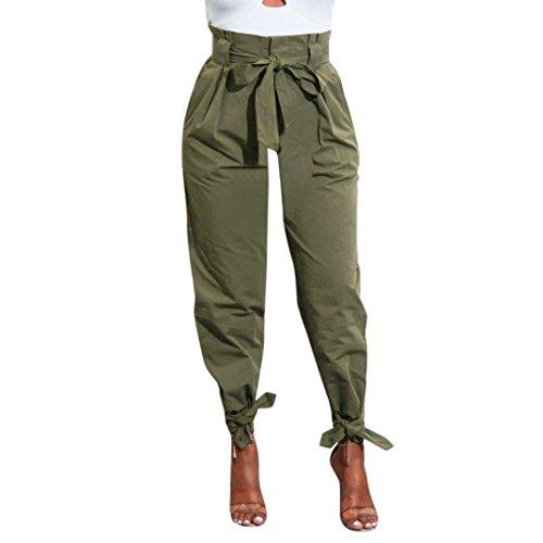 TUDUZ Damen Hosen Elegant High Waist Stretch Skinny Hosen Pants Casual Streetwear Pants Hosen mit Tunnelzug (Armeegrün, S)