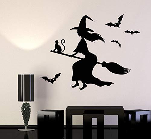 LovelyHomeWJ Hexe Magic Cat Besom Vinyl Wandaufkleber Halloween Dekoration Wandtattoos Wohnzimmer wasserdichte Wohnkultur 57x76 cm (Halloween Magic Hexe Cartoon)