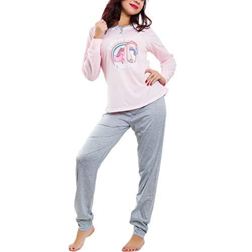 Toocool - pigiama donna intimo felpato pantaloni maglia unicorno caldo nuovo be-8708 [s,it-2832 rosa]
