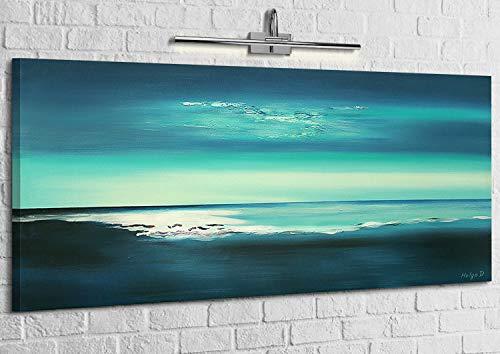 "YS-Art Acryl Gemälde ""Glanzlichter"" | Handgemalt | 115x50cm | Wand Bild | Moderne Kunst | Leinwand | Unikat | Blau"