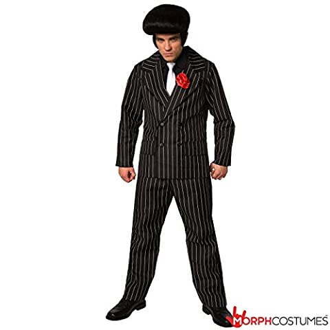 Mens Mafia Gangster Suit Criminal Fancy Dress Costume - 3 Piece Quality Costume