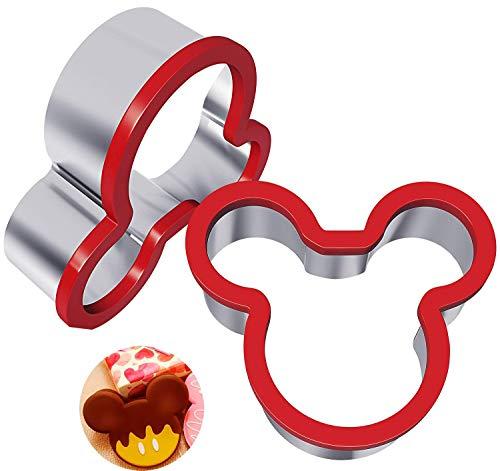 Xelparucoutdoor - Cortador de sándwiches de acero inoxidable, cortador de galletas de Mickey Mouse, molde de galletas de acero inoxidable de grado alimenticio para niños, apto para pasteles y galletas
