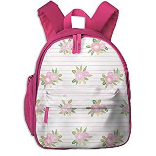 Childrens Backpack for Girls,Stripes Floral Unicorn Quilt Nursery Fabric Pink_4355-charlottewinter,for Children's Schools Oxford Cloth (Pink)