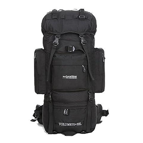 Coucou 85 litres Nylon Unisexe Sport extérieur Walterproof Randonnée Camping Cadre interne Sac à dos noir Sac de cyclisme