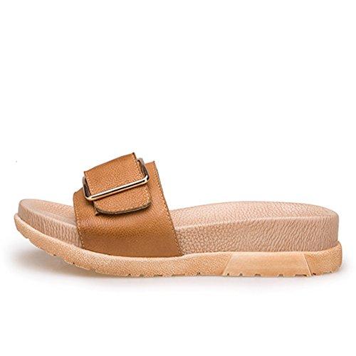 La moda estiva indossa un fondo spessore dei sandali di parole/Pattini in pelle di cuoio genuino fibbia C
