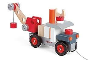 janod 4506509 lastwagen mit kran aus holz spielzeug. Black Bedroom Furniture Sets. Home Design Ideas