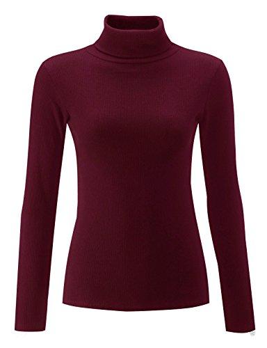 Fashion Lovers Damen Lamarmshirt, Einfarbig Rot - Weinfarben