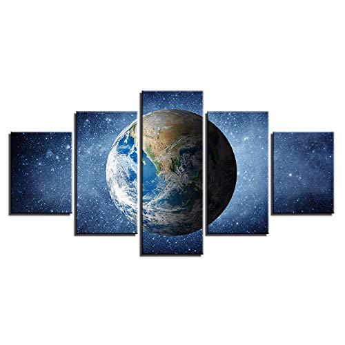 (Leinwandbilder HD Drucke Home Wandkunst Dekor 5 Stücke Universum Erde Planet Paintings Weltraum Poster Wohnzimmer)