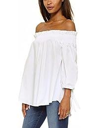 ZANZEA Camisa Blusas Blanca Manga Larga Mujer Elegantes de Vestir sin Hombro Raya