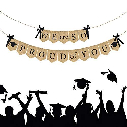 We are So Proud of You Abschluss Banner, rustikale Vintage Sackleinen Graduation Party Supplies 2019, Abschluss Dekorationen für Graduation Grad Home Party, Herzlichen Glückwunsch zu unterzeichnen