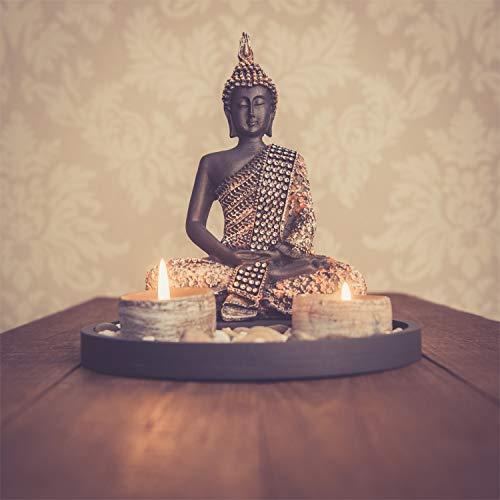 Buddha Sitzend mit Teelicht Deko-Statue - 4