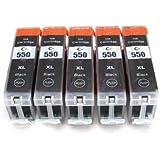 5 compatible Cartridges for Canon PGI-550 XL Ink | includes: 5x PGI-550BK / Black | suitable for CANON Pixma iX6850 / iP7250 / iP8750 / MG5450 / MG5550 / MG6350 / MG6450 / MG7150 / MX725 / MX925