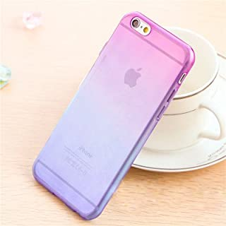 AcenX(TM) TPU Slim Gel Soft Matte Dual Color Silicone Gradient Case Ultra Thin Slim Hybrid Cover Phone Back Crystal Cover Anti Finger Pocket Skin Case Protective Premium Bumper Transparent Clear Shell Vintage Silicone Case for Apple iPhone5 5s (for iphone5/s, Purple Bue)