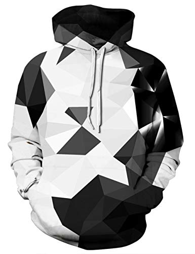 Goodstoworld Coole 3D Geometrie Muster Kapuzenpullover Hoodie Herren Damen Slim Fit Grafik Kapuzenpulli Sweatshirt Kapuze Fleece Top