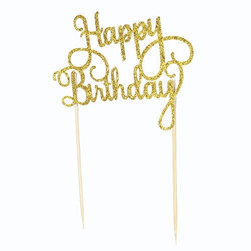 r Set, 15 Stück Glitzerpapier Happy Birthday Tortendeko Cupcake Dessert Dekoration Zubehör (10 x 7.5cm) ()