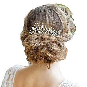 Fashion Jewery 2 St. Damen Haarschmuck Accessoires Haarblumen Haargesteck Haarnadeln Haarstecker Perlen Hochzeit Strass Tiara Diadem Blumen Blüte Braut Haarschmuck Silber