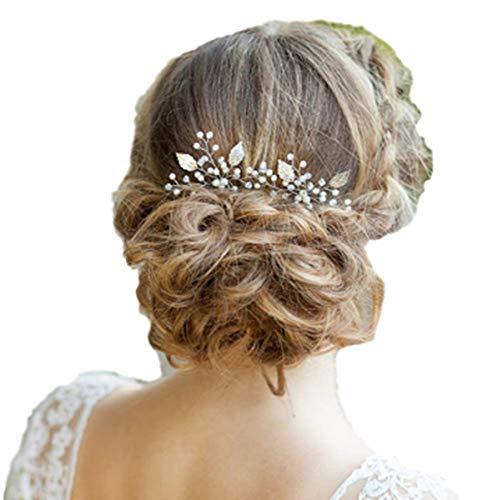 Fashion Jewery 2 St. Damen Haarschmuck Accessoires Haarblumen Haargesteck Haarnadeln Haarstecker Perlen Hochzeit Strass Tiara Diadem Blumen Blüte Braut Haarschmuck Silber (Modell 2)