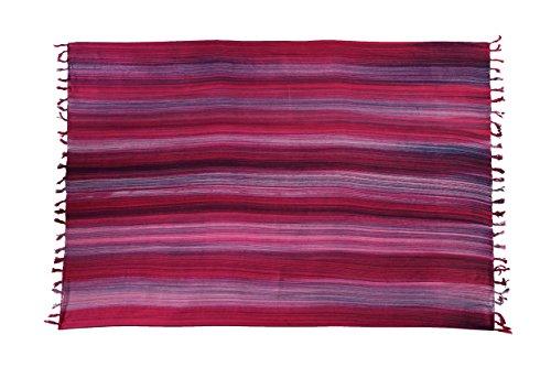 Ciffre Sarong Pareo Wickelrock Strandtuch Tuch Wickeltuch Handtuch Bunte Sommer Muster Set Gratis Schnalle Schließe (Streifen Pink S2)