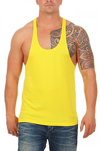 Herren Stringer Bodybuilding Tank Top Muskel Shirt Vest, Größe:XL, Farbe:Gelb (Shirt Muskel-fit)