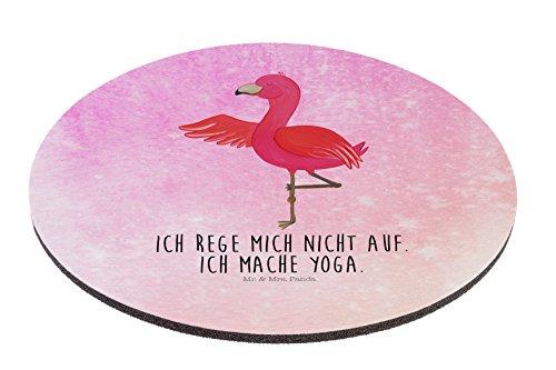 Mr. & Mrs. Panda Mauspad rund Flamingo Yoga - 100% handmade in Norddeutschland - Kreis, Flamingo, Tiefenentspannung, Mouse Pad rund, Achtsamkeit, Arbeitszimmer, Entspannung, Computer, Geschenk, Yoga-Übung, Arbeit, Mauspad