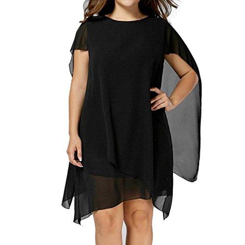 Chiffon kleid, HUIHUI Plus Size Damen Kleid Elegant Vintage Meerjungfrau Kleid O-Ausschnitt Kleid Party Damen Schickes Plus Size Kleid Höhe Taille Elegantes Abendkleider L-XXXXL (XXXXL, Schwarz) Kleider Frauen Schwarz Plus Size