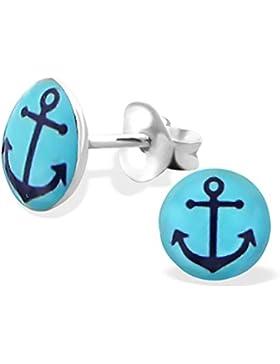 Kinder-Ohrringe aus Sterling-Silber 925/000rhodiniert und Email–Anker–Blau