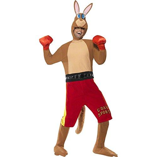 Känguru-Boxer-Kostüm Jumpsuit mit Shorts und Schwanz Handschuhe und -