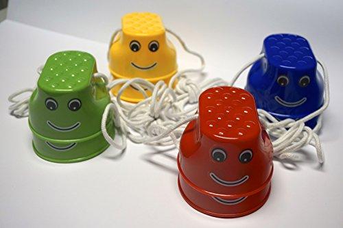 Minis Kreativ 4-er Set Laufdosen Outdoor 4 Paar Laufstelzen, Becherstelzen, für Kinder; Spielzeug für draußen