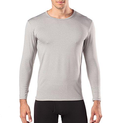 Lapasa Herren Thermo Langarm Hemd, 2er Pack, Luftig, Weich und Elastisch, Herren T-shirt mit Langarm für Winter, Themounterwäsche, men long-sleeved underwear (L, Leicht Heidegrau) (Mens T-shirts Fashion)