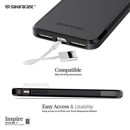 iPhone 8 and 7 Hülle, Weiß Grau Inspire SaharaCase Schutz Kit Paket mit [ gehärtetes Glas Bildschirmschutz] Robuster Schutz Anti-Rutsch-Griffigkeit Schlanke Passform Schwarz