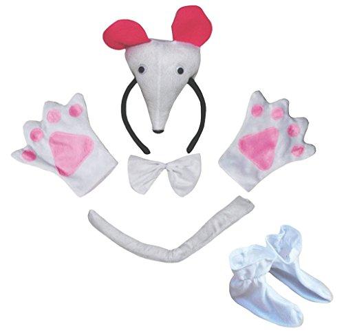 Petitebelle 3D-Maus-Stirnband Bowtie Schwanz Glove Schuhe 5pc Kinder Kostüm Einheitsgröße Weiß (Weiße Maus Schwanz Kostüm)