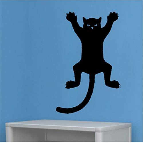 Lustige Katze an der Wand Silhouette Umriss Aufkleber Aufkleber Grafik PVC 32x50cm