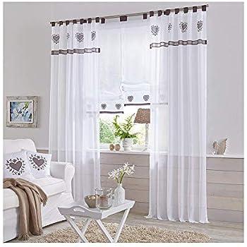 NECOHOME Transparente Schlaufenschal 2er Set Voile Stickerei Vorhang im  Landhausstil Gardinen Deko für Kinder-, Wohnzimmer oder Küche (2 Stücke,  Grau, ...