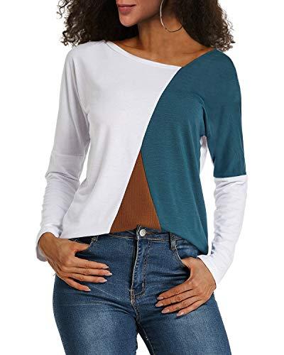 Weiße Langarm-top (YOINS Sexy Schulterfrei Oberteil Damen Shirt Off Shoulder Top Pullover Damen Rollkragen Langarm Gestreift Pulli Lose Tshirt Hemd Weiß EU36-38  (Herstellergröße:M))
