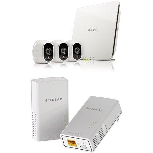 Netgear arlo vms3330-100eus kit con 3 videocamere hd wi-fi per la sicurezza domestica, interno/esterno, visione notturna, bianco  pl1000-100pes kit powerline av1000, 2 porte gigabit, velocità fino a 1 gbps, home plug av2, risparmio energetico, connessione sicura e veloce, bianco