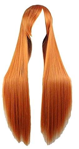 Forfait Orange - Quibine 80cm Longue Ligne Droite Perruque Cosplay