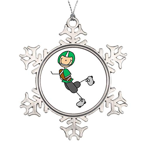 DKISEE Christmas Trees Decorated Football Player Green Christmas Trees Decorations 3 inches Aluminum Metal Christmas Ornament Keepsake