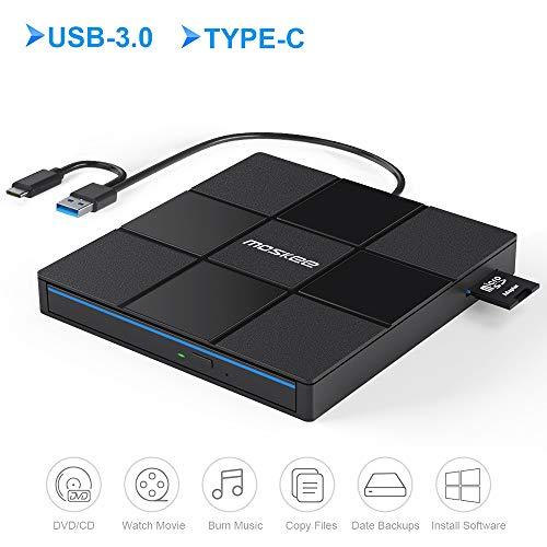 Moskee Unità DVD esterna con USB 3.0/Type-C,CD masterizzatore DVD RW/lettore di schede SD/A basso rumore/Plug & Play/Superdrive sottile per tutti i laptop,desktop,iMac,Macbook,Windows